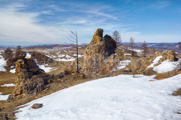 Plüss kövek tó Szibéria égbolt természet Stock fotó © zastavkin