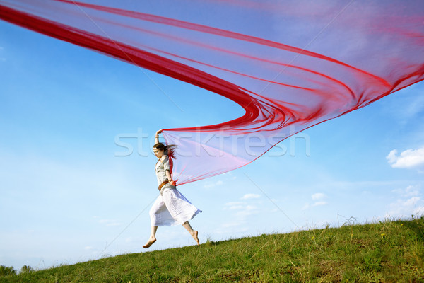 beautiful hippie girl with red fabric Stock photo © zastavkin