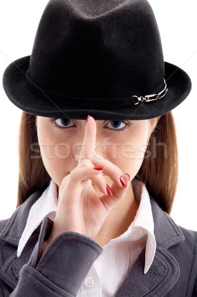 Foto stock: Menina · preto · seis · retrato · jovem · feminino