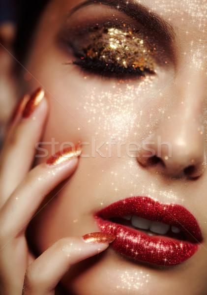 Brillante cara maquillaje hermosa mujer Foto stock © zastavkin