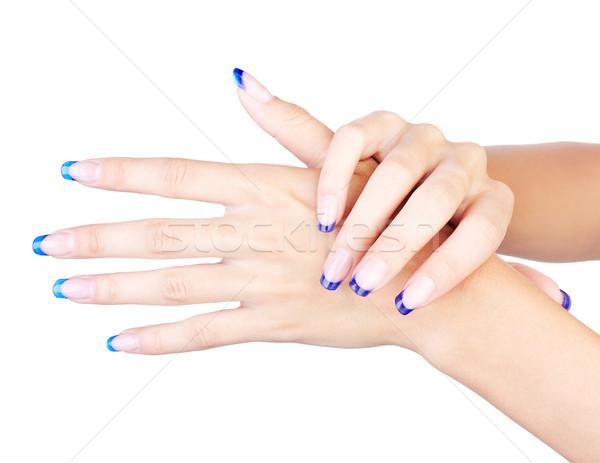 Stock fotó: Kék · francia · manikűr · kezek · profi · francia · körmök