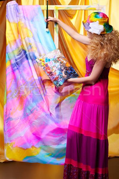 woman artist painting Stock photo © zastavkin
