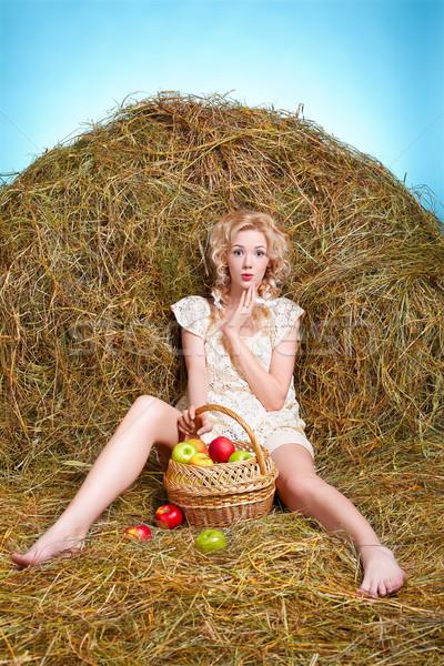 Chica de campo heno retrato hermosa posando Foto stock © zastavkin
