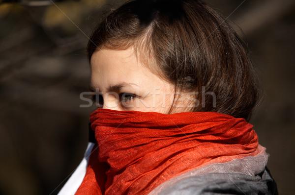 Girl with red scarf Stock photo © zastavkin
