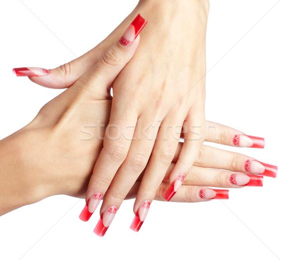 ストックフォト: アクリル · 爪 · マニキュア · 手 · 赤 · フランス語