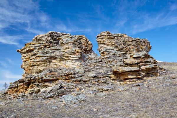 Pluche rotsen meer siberië hemel natuur Stockfoto © zastavkin