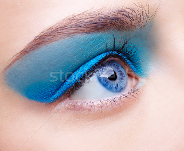 Filles maquillage portrait belle bleu Photo stock © zastavkin
