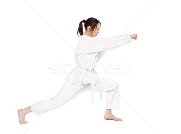 Karate kız yalıtılmış portre güzel dövüş sanatları Stok fotoğraf © zastavkin