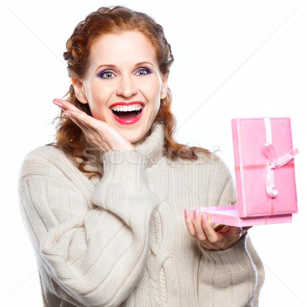 Portrait of a beautiful girl with a gift Stock photo © zastavkin