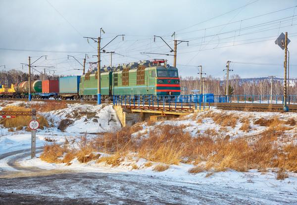 Locomotief spoorweg winter siberië wolken natuur Stockfoto © zastavkin
