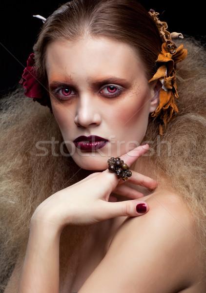 Halloween güzellik kadın makyaj stil kız Stok fotoğraf © zastavkin