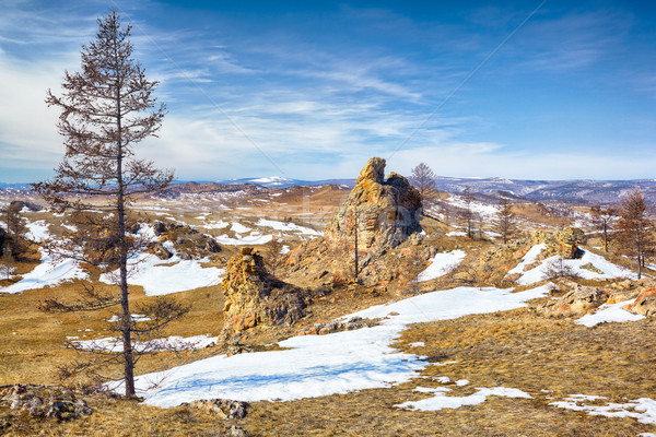 Plush Rocks near Baikal lake Stock photo © zastavkin