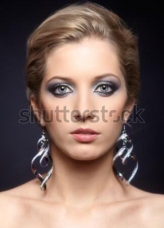 Belle femme noir portrait belle jeune femme vert Photo stock © zastavkin