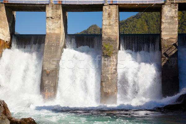Erőmű kilátás folyó égbolt víz fal Stock fotó © zastavkin