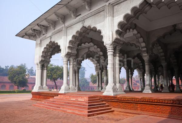 Pijler galerij Indië buitenkant fort hemel Stockfoto © zastavkin