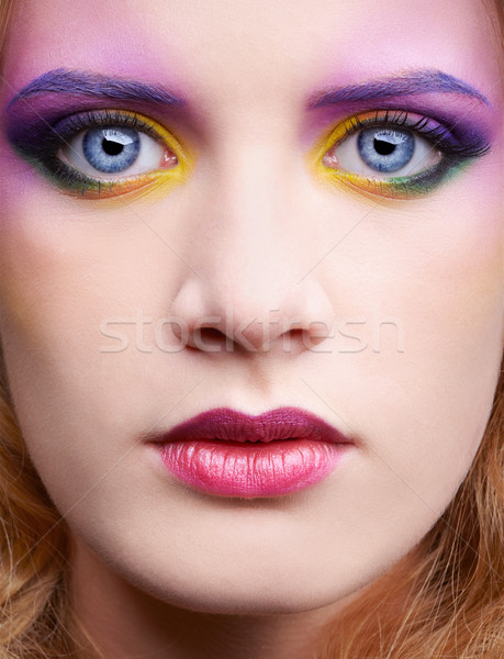 Belle femme portrait coloré maquillage Photo stock © zastavkin