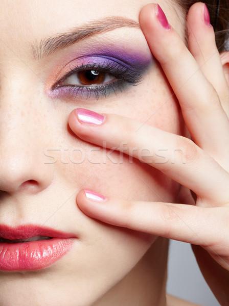 Stock fotó: Közelkép · gyönyörű · lány · portré · fiatal · gyönyörű · nő · ibolya