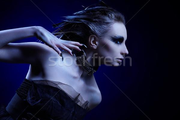 Stok fotoğraf: Kız · portre · güzel · kız · kuş