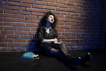 売春婦 肖像 少女 のような ポーズ レンガの壁 ストックフォト © zastavkin