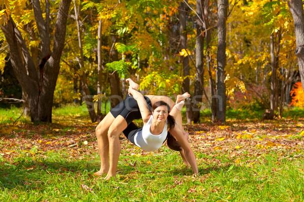 yoga dhanurasana under urdhva dhanurasana pose Stock photo © zastavkin