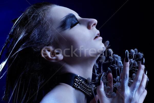 Gier meisje portret mooi meisje vogel buit Stockfoto © zastavkin