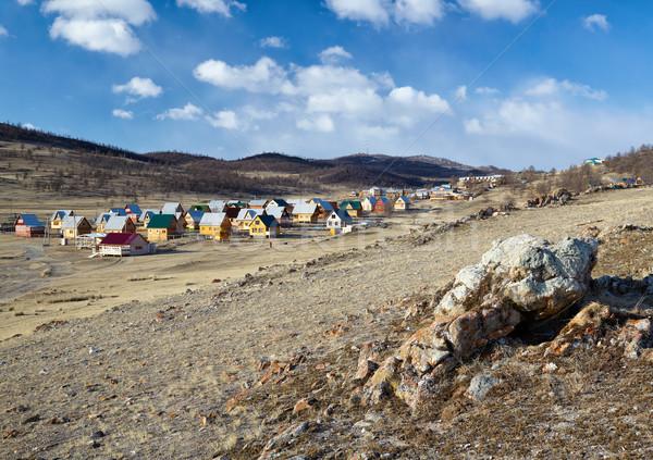 Tábor helyszín kempingezés tó felhők tavasz Stock fotó © zastavkin