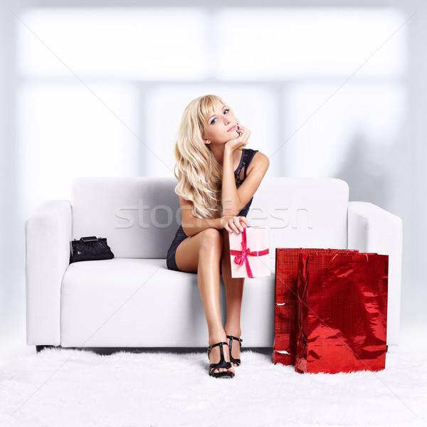 Blond Mädchen Sofa Porträt schönen jungen Stock foto © zastavkin