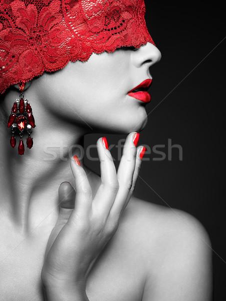 Vrouw Rood zwachtel jonge mooie vrouw ogen Stockfoto © zastavkin