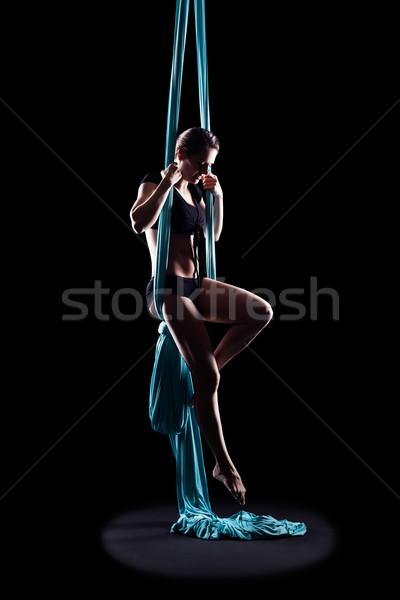 Gimnasta azul cinta aislado Foto stock © zastavkin