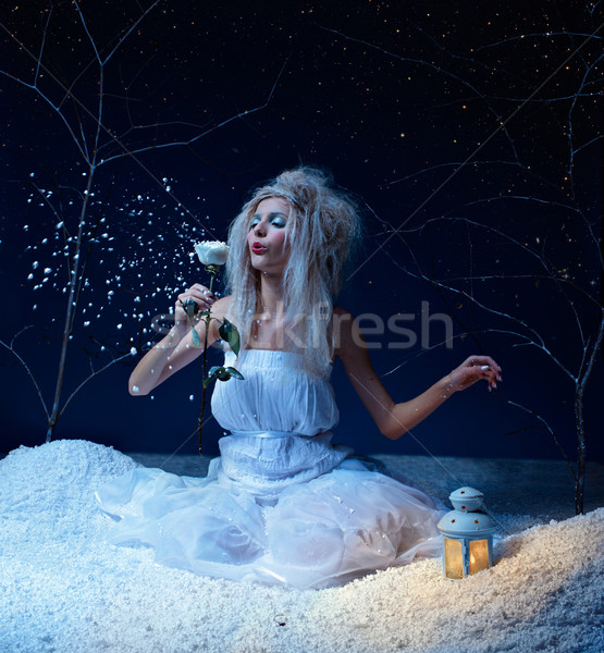 ストックフォト: 凍結 · 妖精 · バラ · 肖像 · 美しい · 冬