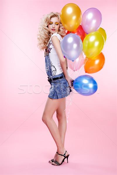 Fille ballons portrait belle célébrer Photo stock © zastavkin
