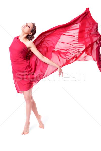 Belle femme rouge battant robe isolé blanche Photo stock © zastavkin