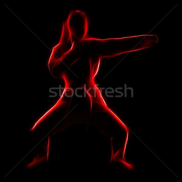 Fractal portrait of karate girl Stock photo © zastavkin