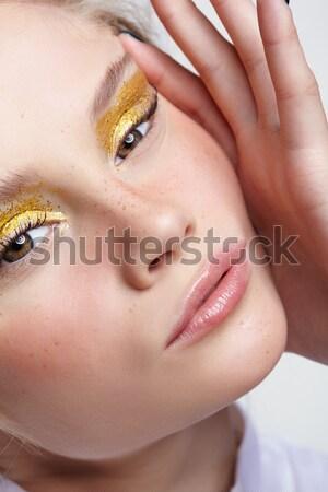 Piękna brunetka dziewczyna portret body art stwarzające Zdjęcia stock © zastavkin