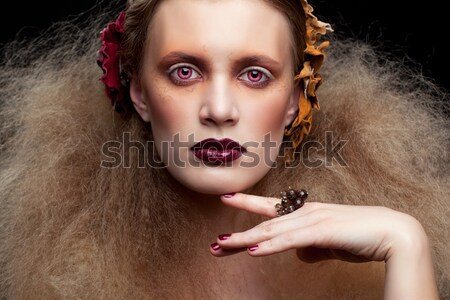 Stock photo: long-haired curly redhead woman