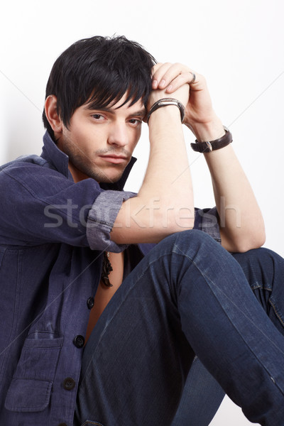 man in shirt and jeans Stock photo © zastavkin