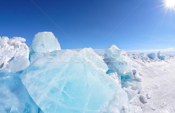 Kış göl manzara güneş mavi gökyüzü mavi Stok fotoğraf © zastavkin