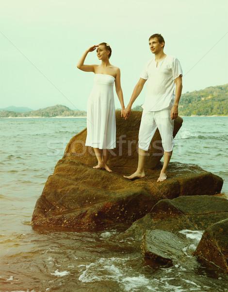 Instagram bağbozumu çift plaj portre açık Stok fotoğraf © zastavkin