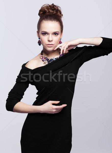 Bigiotteria grigio vestito nero mano faccia Foto d'archivio © zastavkin