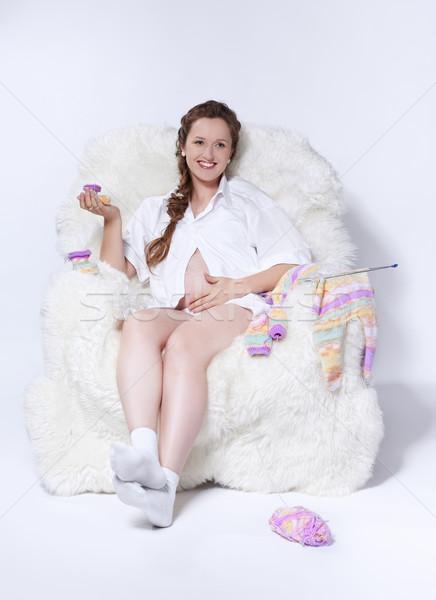 Donna incinta ritratto giovani bella bianco Foto d'archivio © zastavkin