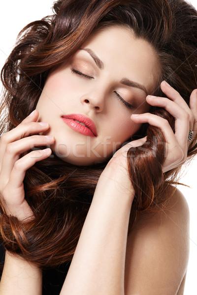 女性 長い ブラウン きれいな女性 ストレート 茶色の髪 ストックフォト © zastavkin
