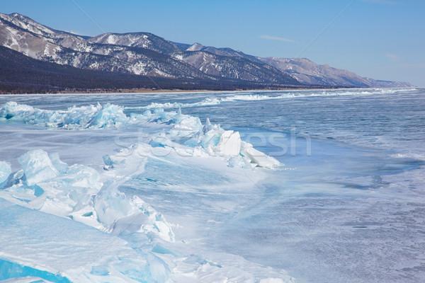 Kış göl açık görmek dondurulmuş gökyüzü Stok fotoğraf © zastavkin