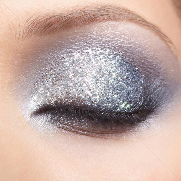 Stockfoto: Vrouw · ogen · make · gesloten · oog