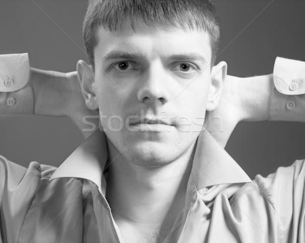 Jeunes élégant Guy portrait posant gris Photo stock © zastavkin