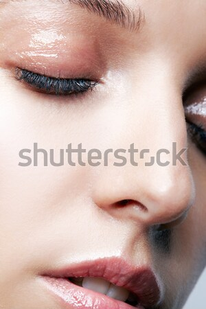 Stok fotoğraf: Güzel · kız · portre · genç · güzel · bir · kadın · gözleri · kapalı