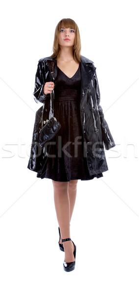 Modell fekete kabát vonzó fiatal fényes Stock fotó © zastavkin