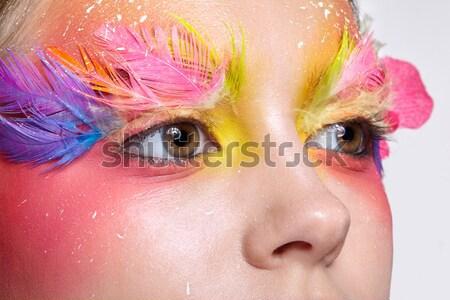 Photo stock: Femme · faux · plumes · maquillage · jeunes