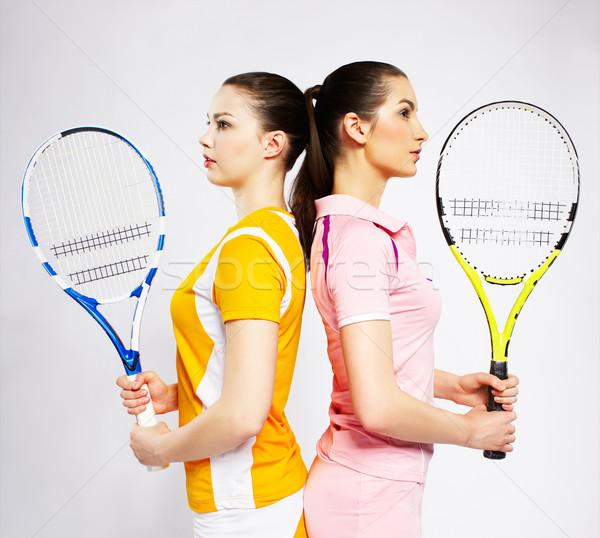 girls tennis players Stock photo © zastavkin