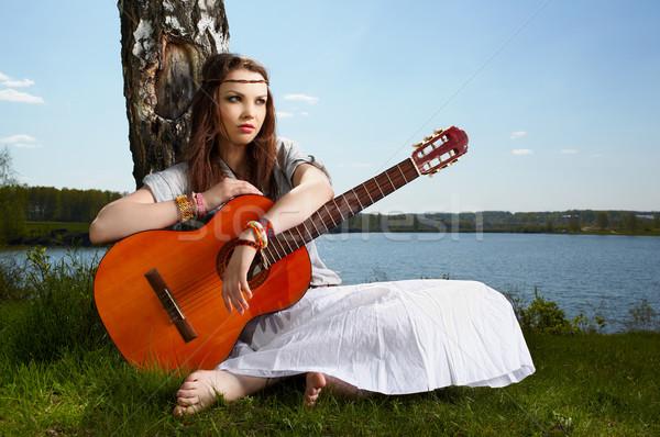 Фотосессия с гитарой девушка