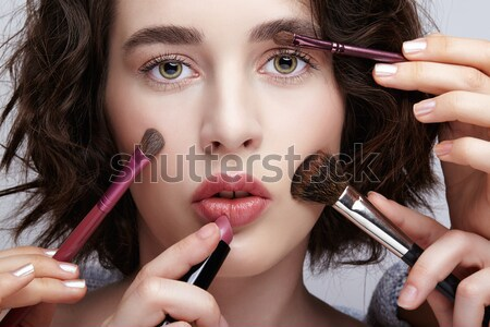 Portrait belle fille maquillage femme visage mode Photo stock © zastavkin